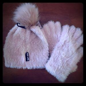 Muk Luks pink fuzzy pom hat with matching gloves.